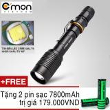 Ôn Tập Đen Pin Sieu Sang Police Xml T6 Led 10W 2200Lm Chiếu Xa 500M Tặng 2 Pin Sạc Li Ion 18650 7800Mah Đen