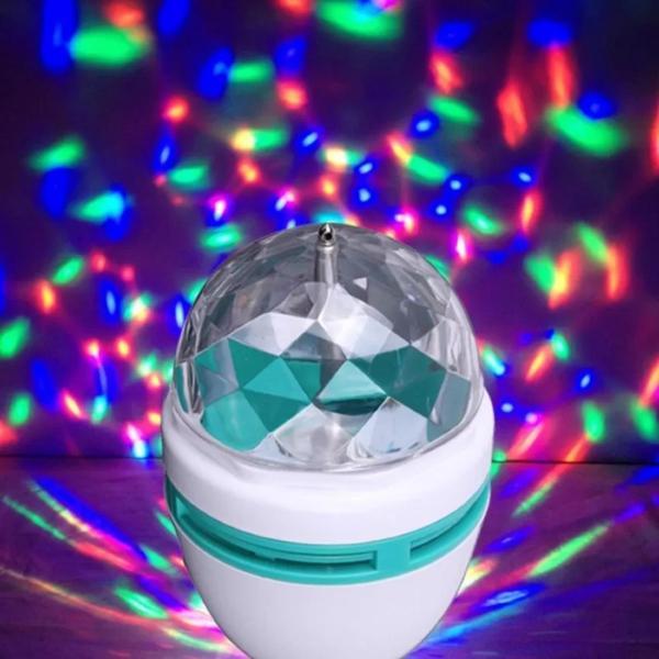 Đèn quả cầu xoay pha lê 7 màu LED HD (Trắng)