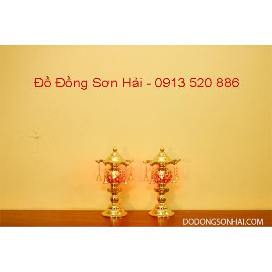 Đèn Thờ Phật, Thờ Gia Tiên Bằng Đồng Đài Loan Cắm Điện Rất Đẹp Cao 27Cm, Mã K4A