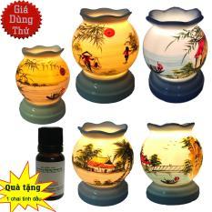 Đèn trang trí và xông tinh dầu điện làng quê miệng lượn (mẫu bất kỳ) + Tặng tinh dầu sả chanh đuổi muỗi