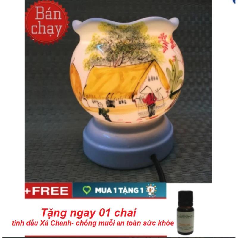 Đèn xông tinh dầu gốm sứ thấu quang Bát Tràng(loại lớn) +tặng 01 tinh dầu chống muỗi