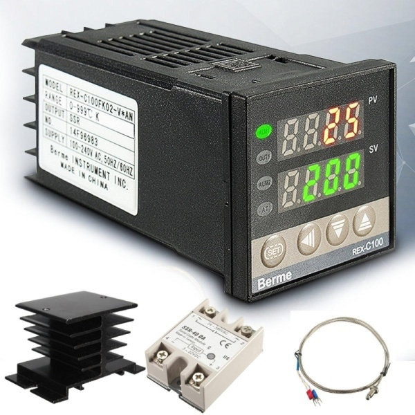 Kỹ thuật số 220 v AC PID REX-C100 Bộ Điều Khiển Nhiệt Độ Max.40A SSR K Cặp Nhiệt Điện-quốc tế