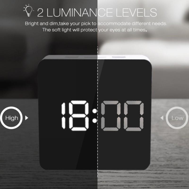 Digoo Gương ĐÈN LED Kỹ Thuật Số Báo Lại Đồng Hồ Báo Thức Nhiệt Độ Thời Gian Chế Độ Ban Đêm Đèn Vuông-quốc tế bán chạy