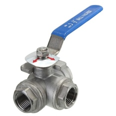 Hình ảnh DN15 G1/2'' Female 3-Way L-Port 304 Stainless Steel Ball Valve Water Oil Sliver - intl
