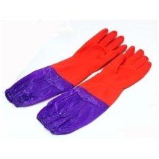 Hình ảnh Đôi găng tay cao su lót nỉ có cạp chun cao cấp TLS168 (Đỏ)