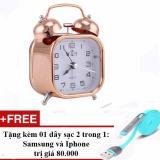 Giá Bán Đồng Hồ Bao Thức Kim Loại Mạ Đồng Phong Cach Cổ Xưa Tặng Cap Sạc Điện Thoại 2 Trong 1 Cho Iphone Va Samsung Đồng Đỏ