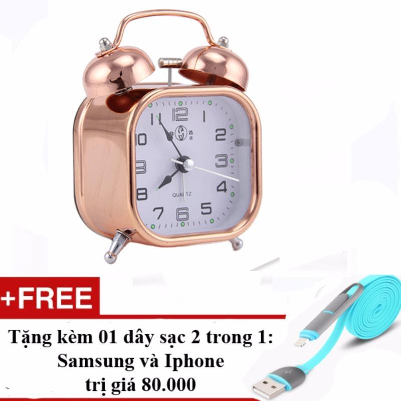 Đồng hồ báo thức kim loại mạ đồng phong cách cổ xưa + Tặng cáp sạc điện thoại 2 trong 1 cho Iphone và Samsung(Đồng đỏ) bán chạy