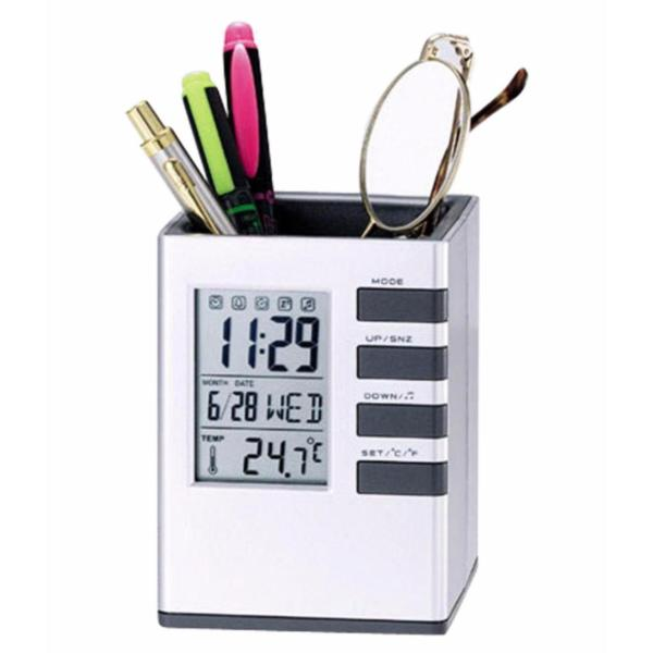 Đồng hồ để bàn kiêm Khay đựng bút đa năng Cube desk stand (có đo nhiệt độ phòng) bán chạy