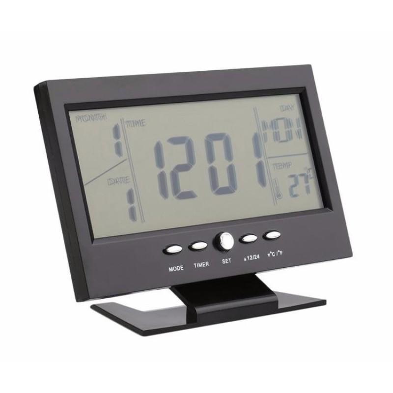 Đồng hồ báo thức điện tử đa chức năng thông minh cảm biến âm thanh (Màu đen) bán chạy