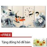 Đồng Hồ Tranh Cửu Ngư Tấn Lộc Dyvina 4T3060 6 Tặng 1 Đồng Hồ Để Ban Hồ Chí Minh Chiết Khấu