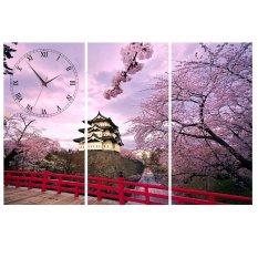 Đồng hồ tranh Hoa đào Nhật Bản Vicdecor DHT0202