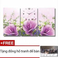 Ôn Tập Đồng Hồ Tranh Hoa Tim Dyvina 3T3050 2 Tặng 1 Đồng Hồ Tranh Để Ban