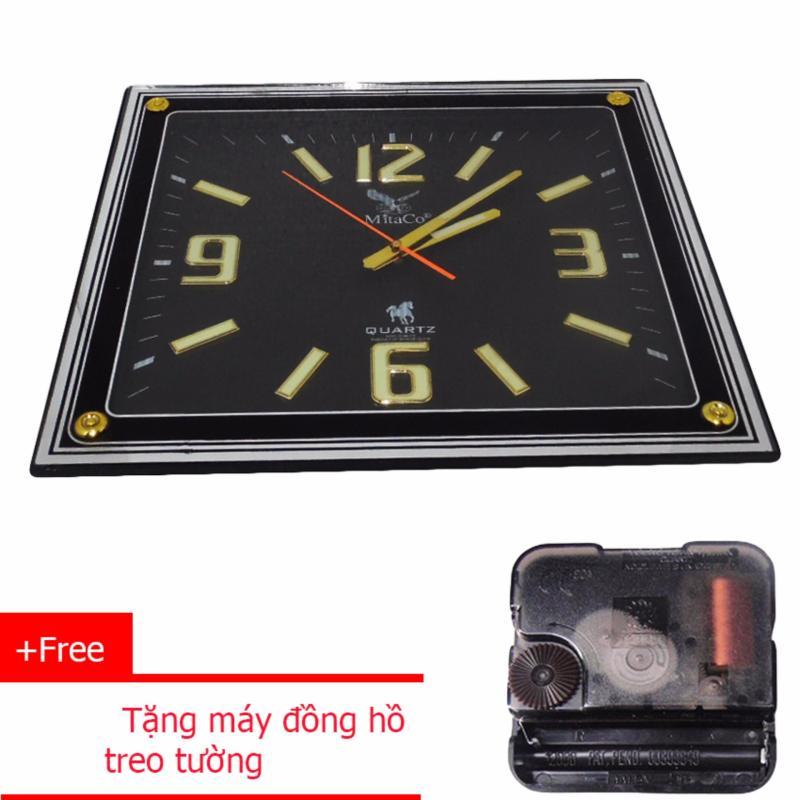 Nơi bán Đồng hồ treo tường mặt hình chữ nhật MitaCo M167 + Tặng máy đồng hồ treo tường (Đen)