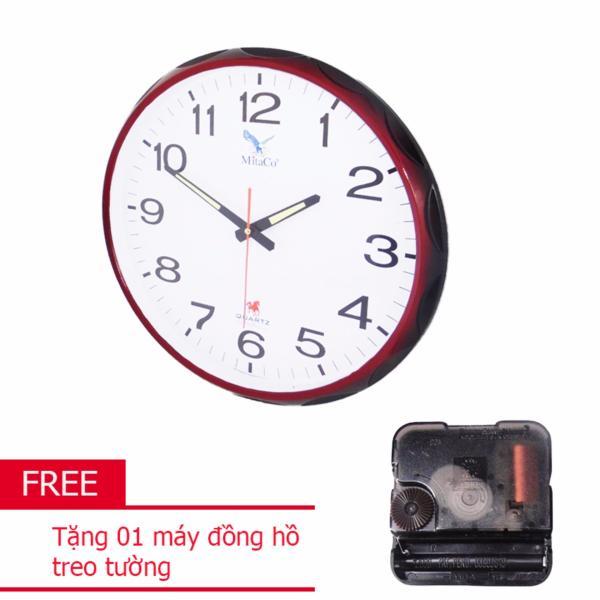 Đồng hồ tròn treo tường MitaCo-M84T 40cm (Nâu) +Tặng 01 máy đồng hồ treo tường bán chạy