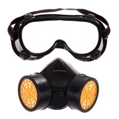 Hình ảnh Dual Gas Filter Anti Dust Paint Respirator Mask Goggles Industrial Safety (Intl)