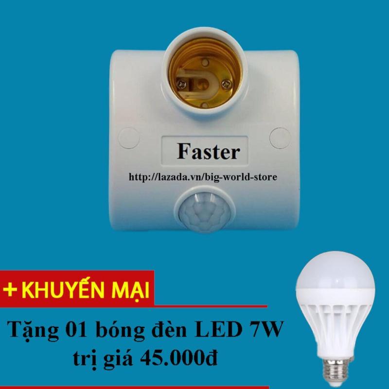 Bảng giá Đui đèn cảm ứng mắt thần Faster (Trắng) + Tặng bóng đèn LED 7W Siêu Sáng