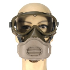Hình ảnh Dust Mask Respirator Half Facepiece Paint Breathing Gas Protection w/ Glasses - intl
