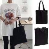 Fashion Women Lady Canvas Eco Reusable Shoulder Bag Shopping Handbag Black Tote - intl