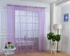 Hình ảnh Floral Flocking Double S Shaped Pattern Tulle Curtain House Decor Door Panel Sheer Scarf Window Curtain - intl