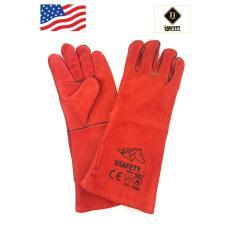 Găng tay da thợ hàn Usafety - màu đỏ