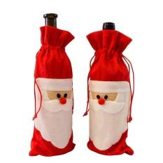 Hình ảnh Gaoshang Chai Rượu Có Giáng Sinh Rượu Tặng Giá Đỡ Paillette Ông Già Noel Giáng Sinh Trang Trí Bộ 2 Gói, 11.8x4.7 inch-quốc tế