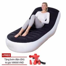 Ghế đệm hơi tựa lưng/ Ghế giường hơi đa năng PVC Flocked + Tặng bơm điện xả hút 2 chiều