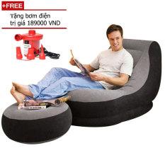 Ghế hơi tựa lưng và ghế để chân bọc nhung Clever Mart + Tặng bơm điện (Nâu)
