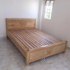Giường gỗ sồi Nga kiểu hoa hồng 1.6m x 2m