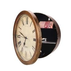 Golden Clock Safes Wall Cash Jewelry Watchs Storage Box Clock Valuables Storage - intl
