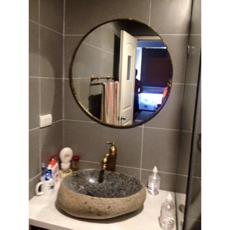 Gương tròn vành đồng cổ cross 60 cm