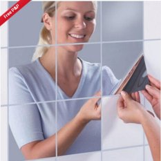 Hang-Qiao 7Pcs Bathroom Square Removeable Mosaic Tiles Mirror Wall Stickers Home Decor (Silver) - intl giá rẻ