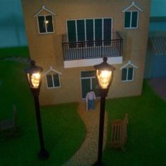 HappyLife (Bộ 3 Cuốn) mỗi 20 cái Đầu Đơn Vườn Vườn Đèn Lamppostlamp 1/100 Mô Hình Bố Trí 6 v-Màu Đen-intl