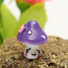 HappyLife Diy Potted Flower Plant Craft Mushroom Garden Decoration Miniaturehouse Ornament Purple - intl