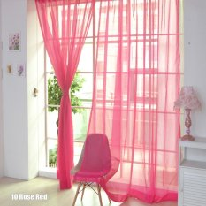 Hình ảnh High Quality Store New Bright Candy Color Floral Voile Curtain Beautiful House Decor Door Window Curtain Panel Sheer Valances Scarf - intl