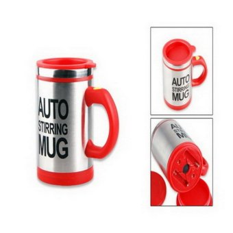 HL Grandwish Automatic Electric Stirring Mug Coffee Mixing Stainlesssteel Drinking Cup 450Ml (Red) - intl