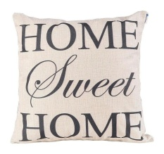 Hình ảnh (Home Sweet Home) - Happytimelol 18 x 18 Standard Size Cotton Linen Throw Pillow Case Cover with Quote Print - intl