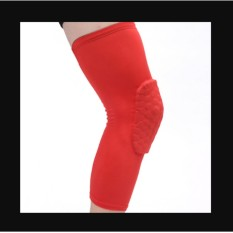 Honeycomb Pad Crashproof Antislip Basketball Leg Knee Long Sleeve Protector Gear Red Length:47cm/18.5in - intl