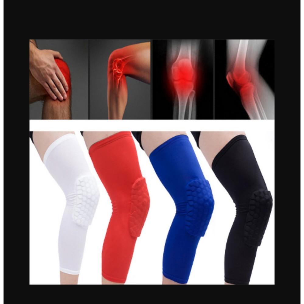 Honeycomb Pad Crashproof Antislip Basketball Leg Knee Long Sleeve Protector Gear White Length:45cm/