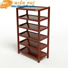 Kệ dép 6 tầng IB663 gỗ cao su 63 x 30 x 105 cm màu cánh gián