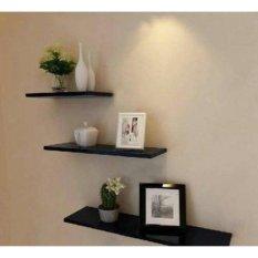 Kệ treo tường gỗ xanh chống ẩm cho tivi phòng khách nhỏ bộ 3 thanh thẳng dài 40cm (Đen)