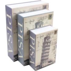Két sắt mini giả sách Size Lớn - Tháp Nghiêng PISA - Khóa số