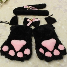 Hình ảnh Kitten Cat Maid Cosplay Role Play Anime Costume Gloves Paw Ear Tail Tie Party Black Whole Set - intl
