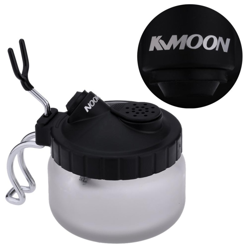 KKmoon Professional Airbrush Cleaning Pot Glass Air Brush Holder Clean Paint Jar Bottle Manicures Tattoo Supply - intl