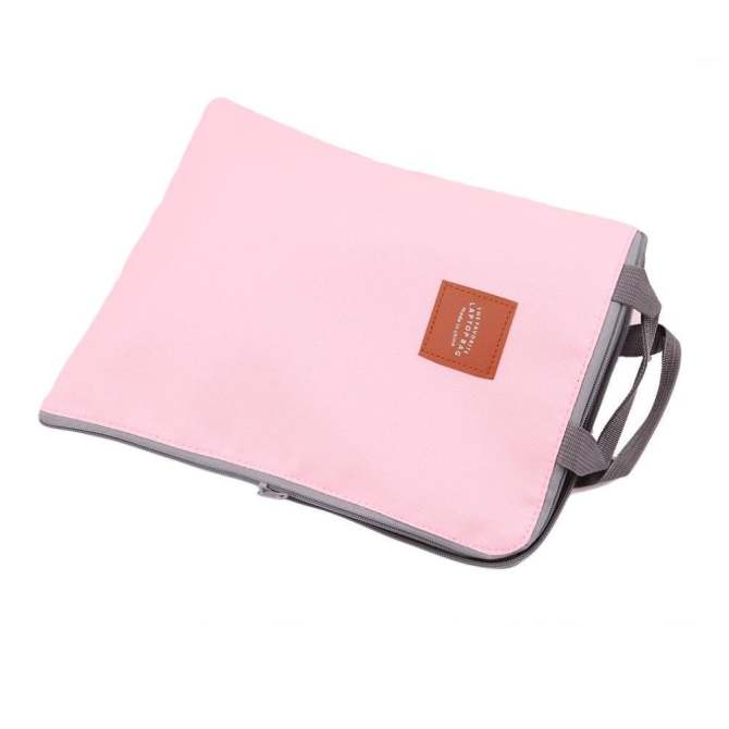LALANG Portable A4 File Folder Document Bag Business Briefcase Paper Storage Organizer Stationery Gift (Pink