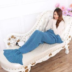Mua Lalang Sofa Knitting Mermaid Tail Blankets Air Conditioning Blanket Lake Blue Intl Rẻ Trung Quốc