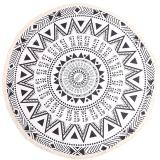 Chiết Khấu Sản Phẩm Lalang Summer Printed Round Beach Towel With Tassel Bohemian Style Black White