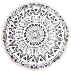 Lalang Summer Printed Round Beach Towel With Tassel Bohemian Style Black White Mới Nhất