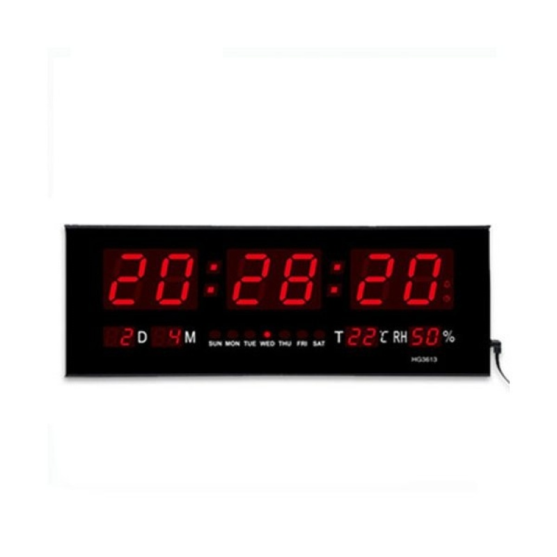 Đồng hồ treo tường loại lớn màn hình kỹ thuật số có đèn LED, chức năng ngày hẹn báo thức (Màu đen)-quốc tế bán chạy