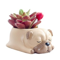 leegoal Cute Animal Shaped Home Decoration Succulent Vase Flower Pots Cartoon Desktop Flower Pot Sleeping Pet Design(Pug) - intl