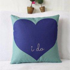 Hình ảnh Love is Sweet Cushion Cover Cotton Linen Decorative Pillowcase Chair Seat Square 45x45cm Pillow Cover Home Living Textile - intl